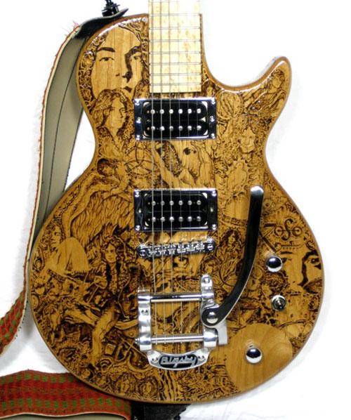 I Saw This Artist On The Local Breakfast Tv Show Other Day And Her Art Looks Really Cool She Does Custom Wood Burned Guitar Bodies